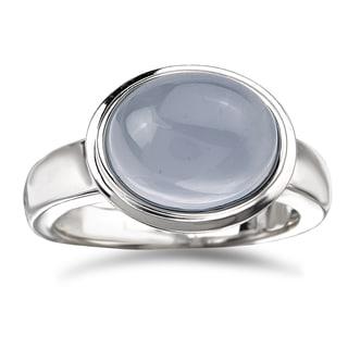 Avanti Sterling Silver Oval-cut Bezel-set Chalcedony Ring