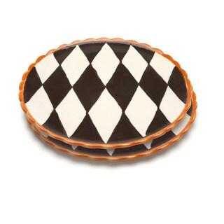 Blue Brûlée Pizza/Cake Platter in Losange Pattern by La Cote (Set of 2)