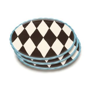 Blue Brûlée Dinner Plates in Losange Pattern with Blue Border by La Cote (Set of 3)