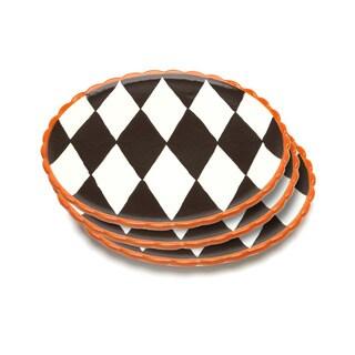 La Cote Blue Brûlée Dinner Plates in Losange Pattern with Orange Border (Set of 3)
