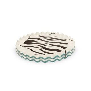 Blue Brûlée Cake Stand in Swirl Pattern by La Cote (Set of 2)