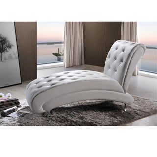 Baxton Studio Pease Contemporary White Faux Leather Upholstered Crystal Button Tufted Chaise Lounge