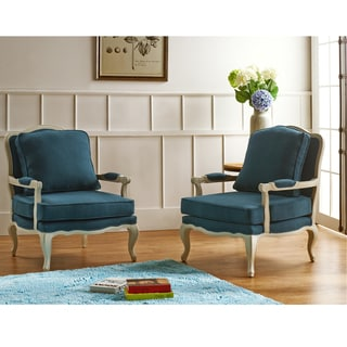 Antoinette Traditional Classic Antiqued French Blue/Azure Accent Chair