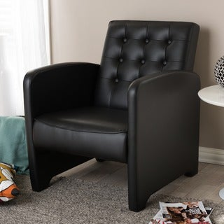 Baxton Studio Renswald Black Faux Leather Upholstered Button Tufted Lounge Chair