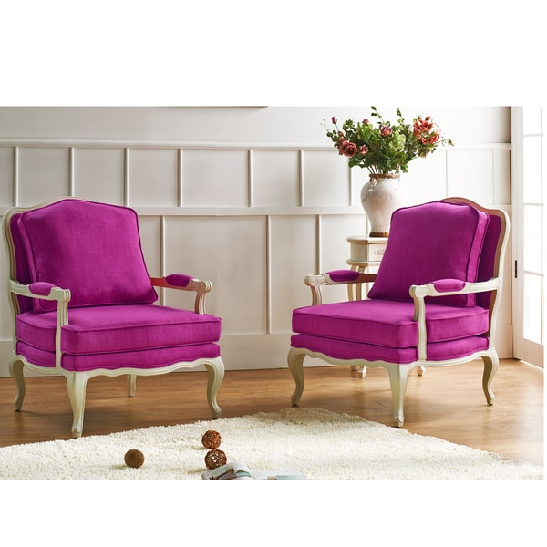 Antoinette Traditional Clic Antiqued French Pink Accent Chair - Traditional Accent Chairs Living Room