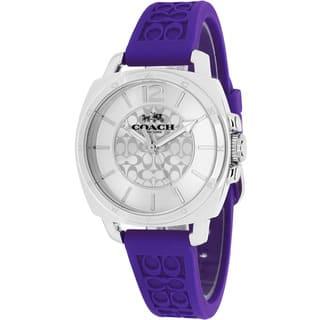 Coach Women's 14502091 Boyfriend Round Purple Rubber Strap Watch|https://ak1.ostkcdn.com/images/products/10129174/P17266723.jpg?impolicy=medium