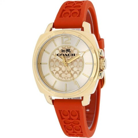 Coach Women's Boyfriend Round Orange Rubber Strap Watch