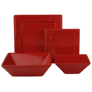 10 Strawberry Street Vivo Red Beaded Square 19-piece Dinner Set