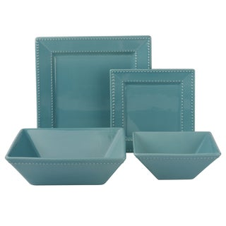 Vivo Teal Beaded Square 19-piece Dinner Set