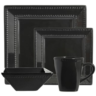 Vivo Black Beaded Square 16-piece Dinner Set