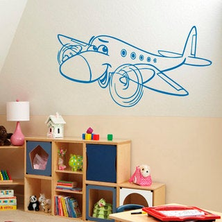 Smiling Airplane Vinyl Sticker Wall Art