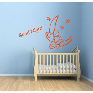 Good Night Fairy On the Moon Vinyl Sticker Wall Art