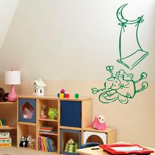 Moon Swing Little Girl Vinyl Sticker Wall Art