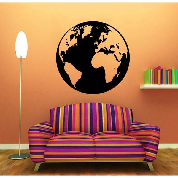 Shop Earth Globe World Vinyl Sticker Wall Art - Free Shipping On ...
