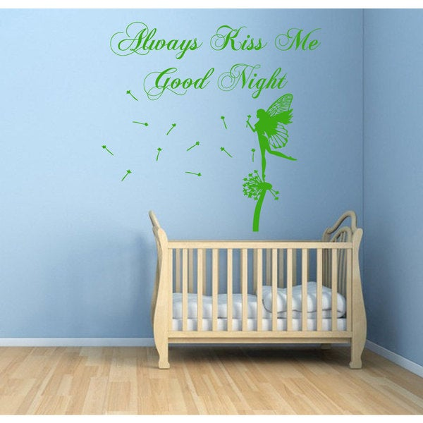 Always Kiss Me Goodnight Fairy Vinyl Sticker Wall Art