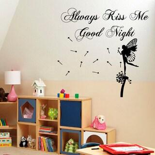 Always Kiss Me Goodnight Fairy Vinyl Sticker Wall Art