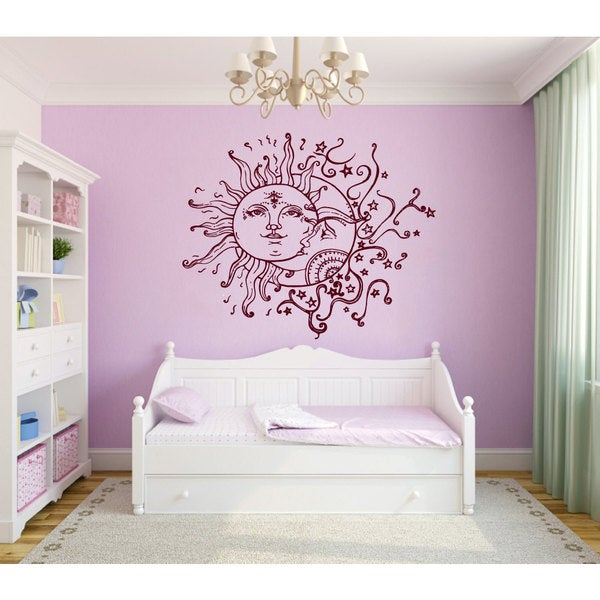 shop crescent moon and sun nursery room vinyl sticker wall art free shipping on orders over. Black Bedroom Furniture Sets. Home Design Ideas