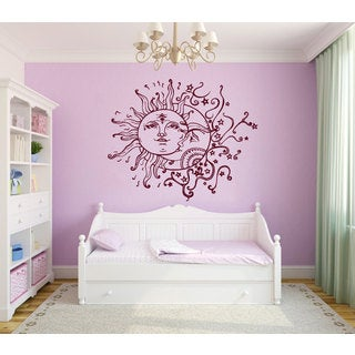 Crescent Moon and Sun Nursery Room Vinyl Sticker Wall Art