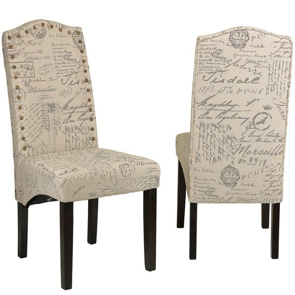 Cortesi Home Miller Beige Script Fabric Dining Chair (Set of 2)
