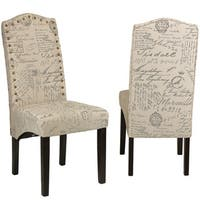 Cortesi Home Miller Beige Script Fabric Dining Chair (Set of 2)