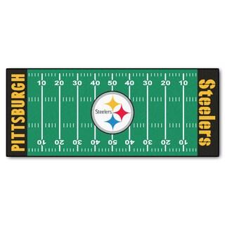 Fanmats Machine-made Pittsburgh Steelers Green Nylon Football Field Runner (2'5 x 6')