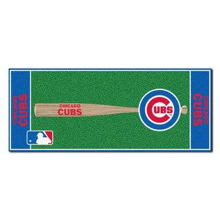 Fanmats Machine-made Chicago Cubs Green Nylon Baseball Runner (2'5 x 6')
