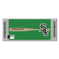 Fanmats Machine-made Chicago White Sox Green Nylon Baseball Runner (2'5 x 6')