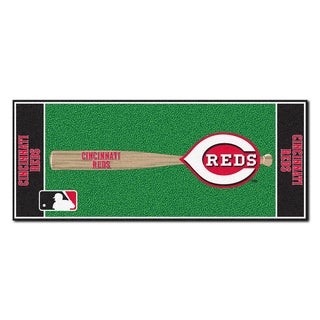 Fanmats Machine-made Cincinnati Reds Green Nylon Baseball Runner (2'5 x 6')