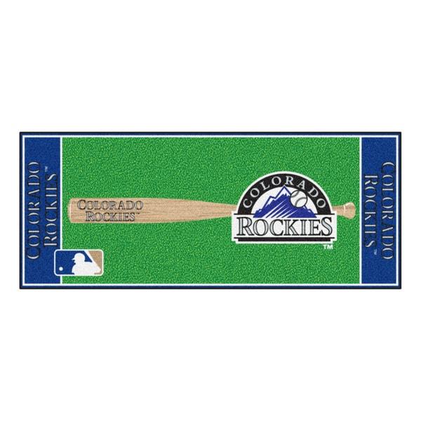 Fanmats Machine-made Colorado Rockies Green Nylon Baseball Runner (2'5 x 6')