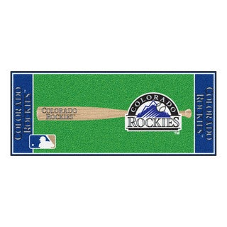 Fanmats Machine-made Colorado Rockies Green Nylon Baseball Runner (2'5 x 6')
