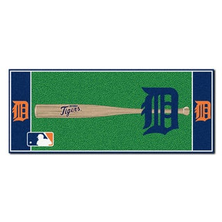 Fanmats Machine-made Detroit Tigers Green Nylon Baseball Runner (2'5 x 6')