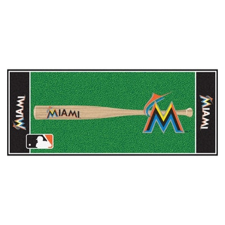 Fanmats Machine-made Florida Marlins Green Nylon Baseball Runner (2'5 x 6')