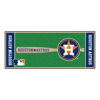 Fanmats Machine-made Houston Astros Green Nylon Baseball Runner (2'5 x 6')