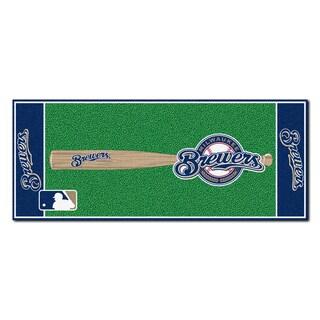 Fanmats Machine-made Milwaukee Brewers Green Nylon Baseball Runner (2'5 x 6')