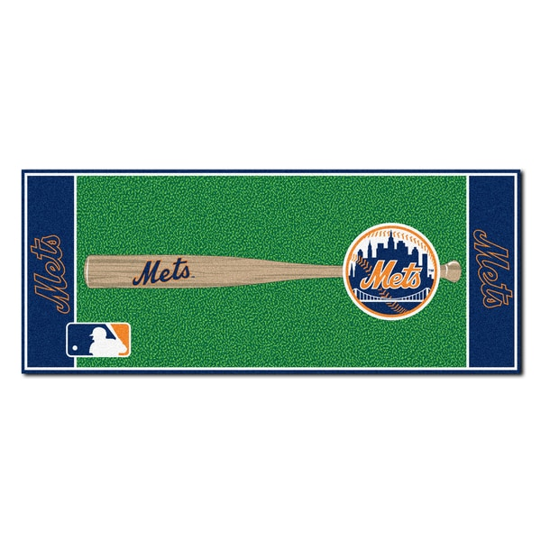 Fanmats Machine-made New York Mets Green Nylon Baseball Runner (2'5 x 6'). Opens flyout.