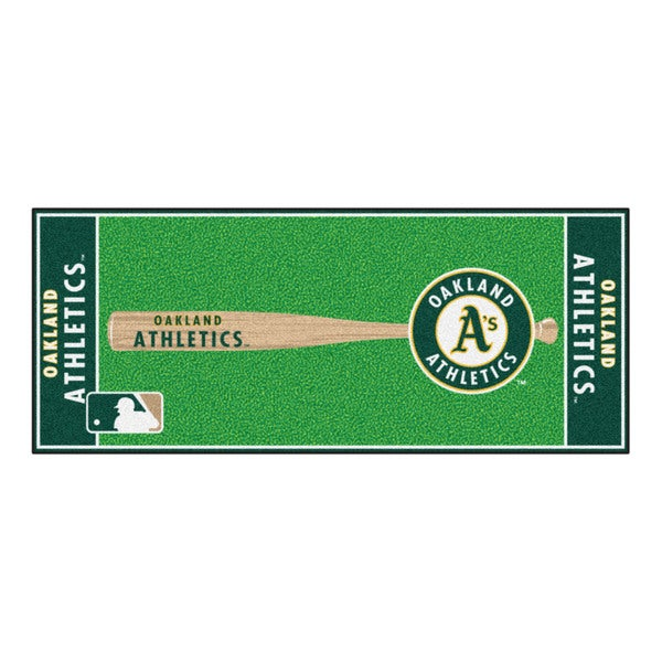 Fanmats Machine-made Oakland Athletics Green Nylon Baseball Runner (2'5 x 6')