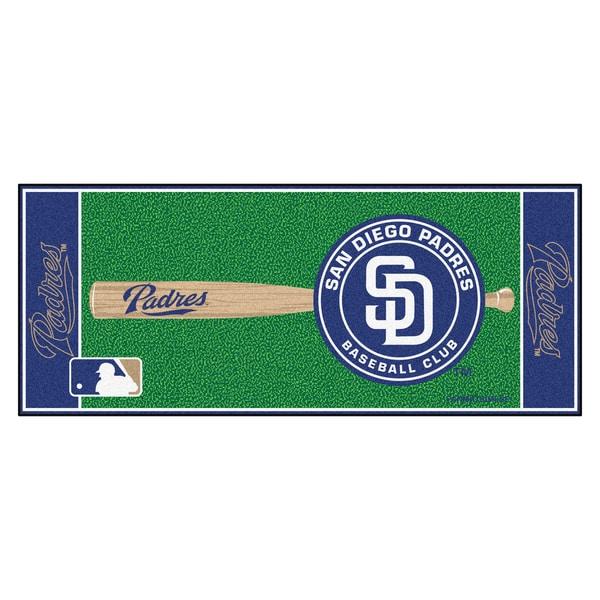 Fanmats Machine-made San Diegeo Padres Green Nylon Baseball Runner (2'5 x 6')