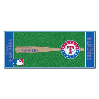 Fanmats Machine-made Texas Rangers Green Nylon Baseball Runner (2'5 x 6')
