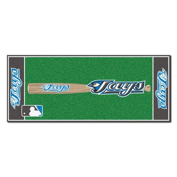 Fanmats Machine-made Toronot Blue Jays Green Nylon Baseball Runner (2'5 x 6')