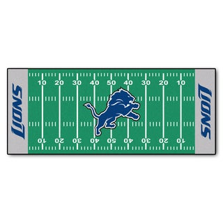 Fanmats Machine-made Detroit Lions Green Nylon Football Field Runner (2'5 x 6')