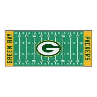 Fanmats Machine-made Green Bay Packers Green Nylon Football Field Runner (2'5 x 6')
