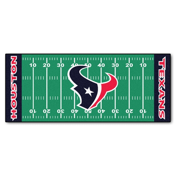Fanmats Machine-made Houston Texans Green Nylon Football Field Runner (2'5 x 6')