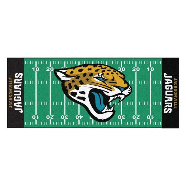 Fanmats Machine-made Jacksonville Jaguars Green Nylon Football Field Runner (2'5 x 6')