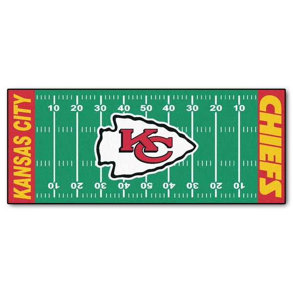 Fanmats Machine-made Kansas City Chiefs Green Nylon Football Field Runner (2'5 x 6')