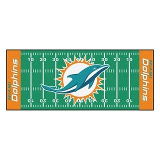Fanmats Machine-made Miami Dolphins Green Nylon Football Field Runner (2'5 x 6')