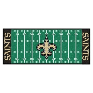 Fanmats Machine-made New Orleans Saints Green Nylon Football Field Runner (2'5 x 6')