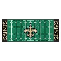 Fanmats Machine-made New Orleans Saints Green Nylon Football Field Runner (2'5 x 6')