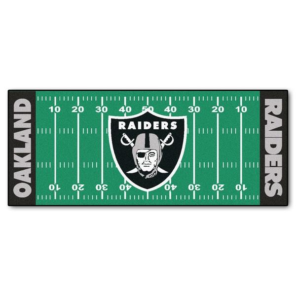 Fanmats Machine-made Oakland Raiders Green Nylon Football Field Runner (2'5 x 6')