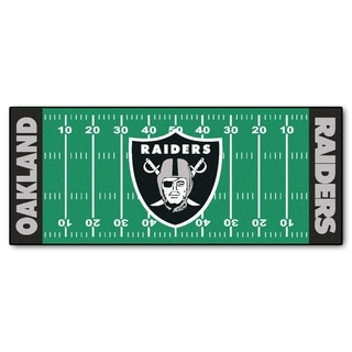 Fanmats Machine-made Oakland Raiders Green Nylon Football Field Runner (2'5 x 6')