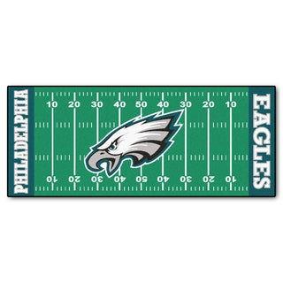 Fanmats Machine-made Philadelphia Eagles Green Nylon Football Field Runner (2'5 x 6')